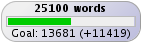 NaNoWriMo day 15, 25100 words